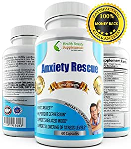* ALL NATURAL * ANXIETY RESCUE - Depression And Anxiety Supplements - Anxiety Natural Supplements - Anxiety Relief - Anxiety Free - Anxiety Pills - Depression Supplements - Anxiety Supplement