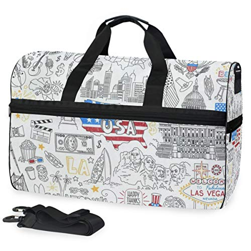 American Stripe Stars Black And White Sports Gym Bag with Shoes Compartment Travel Duffel Bag for Men Women