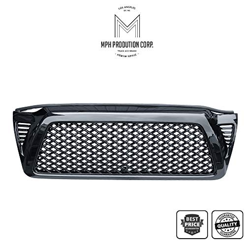 MPH Autoparts Black Dragon Mesh Front Hood Bumper Grill Grille ABS For 2005-2011 Tacoma