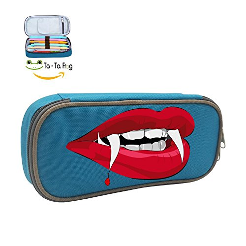 (MOPE Scary Mouth Pencil Case Double Zipper Large Storage Space Mulit-function Stationary Portable Makeup)