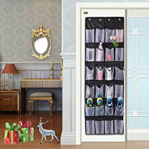 Over the Door Shoe & Accessory Organizer with 24 Oversized Pockets, Oxford Fabric Reinforced Storage Hang on Standard Doors with 4 Hooks, Black