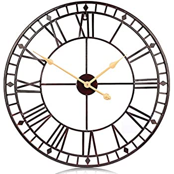 PUMERIT Vintage Big Wall Clock Rustic Retro Metal Wall Décor 24 Inch Handmade Not-Ticking for Living Room Hotel Restaurant Decoration