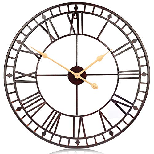 Quartz Antique Style Ring - PUMERIT Vintage Big Wall Clock Rustic Retro Metal Wall Décor 24 Inch Handmade Not-Ticking for Living Room Hotel Restaurant Decoration