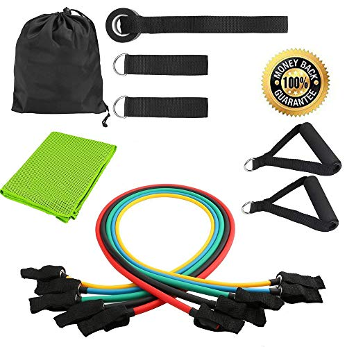 YOOKOON Resistance Bands Set, Workout Bands - with Cooling Towel, Door Anchor, Handles and Ankle Straps - Stackable Up to 105 Lbs - for Resistance Training, Physical Therapy, Home Workouts, Yoga by YOOKOON