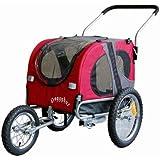 Doggyhut Medium Pet Dog Bicycle Trailer & Jogging Stroller in Red Inside Dimensions 68x43.4x51cm