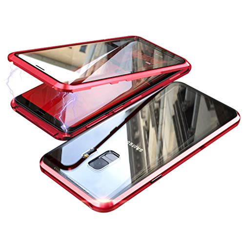 - UMTITI Compatible Samsung Galaxy S9 Plus Case, with Built-in Screen Protector Magnetic Clear Double-Sided Tempered Glass Cover (Red)