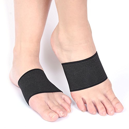 Compression Copper Plantar Fasciitis Arch Support Brace, Planters Foot Walk Fit Orthotic Support for Shoes, Stops Flat Feet, Heel Spurs and High Arch Pain Guaranteed (1 Pair Black – One Size Fits All)