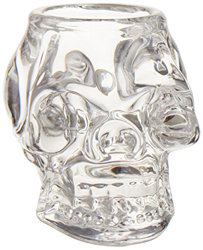 Diamond Star Glass 68053 5.5 Inch Skull Candleholder Clear