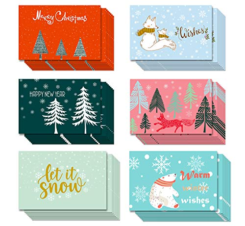 Merry Christmas Holiday Greeting Cards – Bulk 30 Pack Assorted Boxed Xmas Cards for Friends and Family with Envelopes and Sealing Stickers, Featuring 6 Winter Snowflakes Festive Designs 4 x 6 in