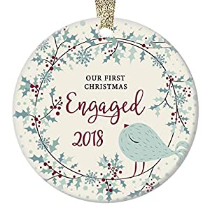 "First Christmas Engaged Ornament 2018 Seasonal Wreath Ceramic Keepsake Engagement Party Gift Idea 1st Holiday as Engaged Couple Getting Married 3"" Flat Porcelain w Gold Ribbon & Free Gift Box OR00100 7"