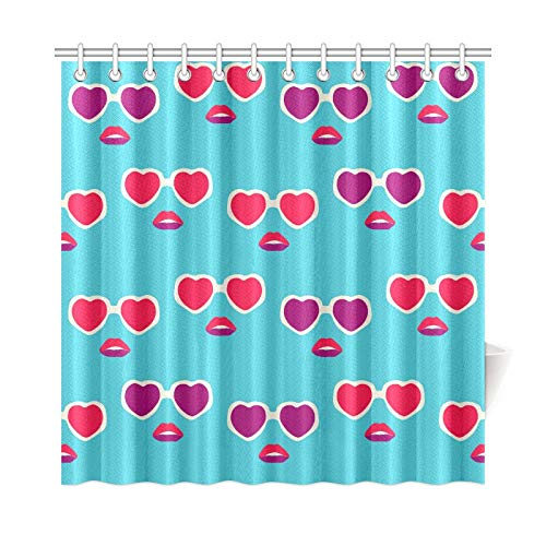 - AIKENING Home Decor Bath Curtain Heart Shaped Sunglasses Retro Polyester Fabric Waterproof Shower Curtain for Bathroom, 72 X 72 Inch Shower Curtains Hooks Included