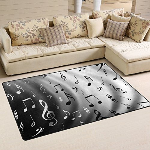 (Yochoice Non-slip Area Rugs Home Decor, Vintage Retro Music Note Floor Mat Living Room Bedroom Carpets Doormats 60 x 39)