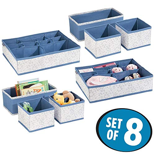 (mDesign Soft Fabric Dresser Drawer and Closet Storage Organizer Set for Child/Kids Room, Nursery - Includes Large and Small Organizers - Fun Splatter Print - Set of 8 - Blue/Light Gray)