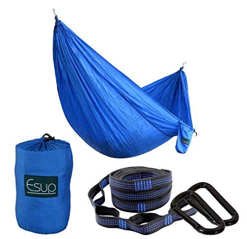 Esup XL Camping Hammock -Multifunctional Lightweight Nylon Portable Hammock, Best Parachute Hammock For Backpacking, Camping, Travel (Blue, 118