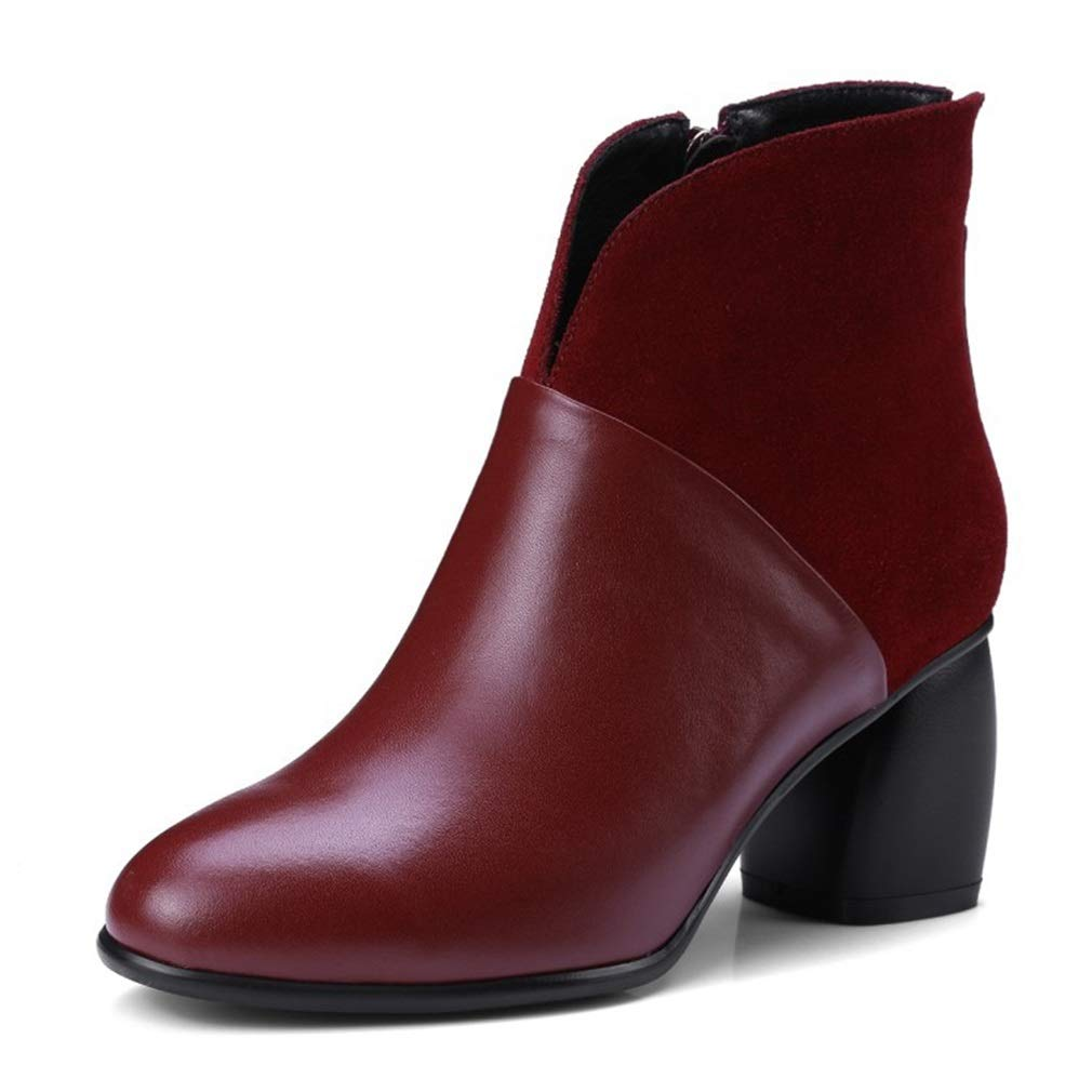 B Women's Boots Autumn Winter Leather shoes Thick Heel Ladies' Boots Fashion Bare Boots Wedding Party & Evening Dress shoes (color   A, Size   35)