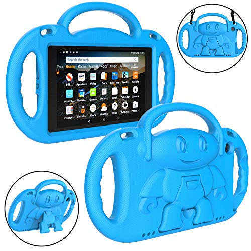 "LTROP All-New Fire HD 8 Tablet Case, Fire 8 2018 Case for Kids - Light Weight Shock Proof Handle Friendly Stand Child-Proof Case for Fire 8"" HD Display Tablet Bumper Cover (2017&2018 Release) - Blue"