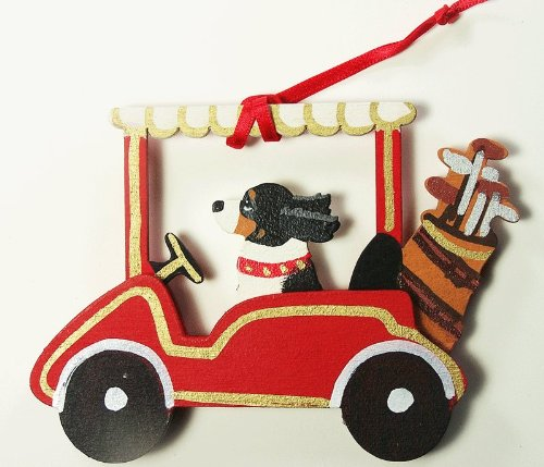 Tri-Colored Cavalier King Charles Spaniel Dog Golf Cart Wooden Handpainted 3-Dimensional Christmas Ornament - USA made.