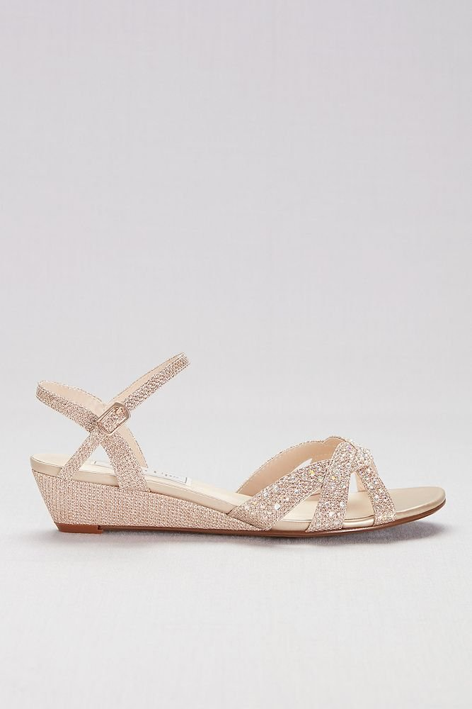David's Bridal Glitter Mini-Wedge Sandals with Woven Straps Style Lena B079P6NG7B 12 B(M) US|Champagne