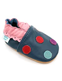 Dotty Fish Baby Girls Soft Leather Shoe with Suede Soles - Navy Multi Colored Spotty - 0-6 Months to 4-5 Years