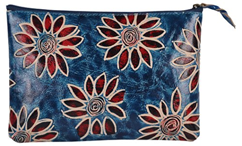 SAAGA Hand Painted Leather Makeup Pouch Cosmetics Bag Makeup Organizer Travel Bag Toiletry Kit with Blue Floral Design / Handmade : 8x5.25 inches (Hand Painted Leather Bags)