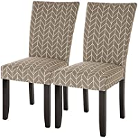 Glitzhome Padded Fabric Dining Chairs, Set Of Two (Gray)
