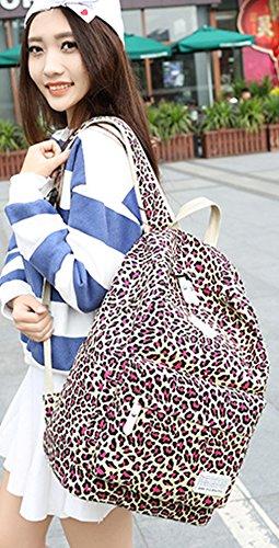 Ghlee - Bolso mochila  de Lona para mujer rosa roja