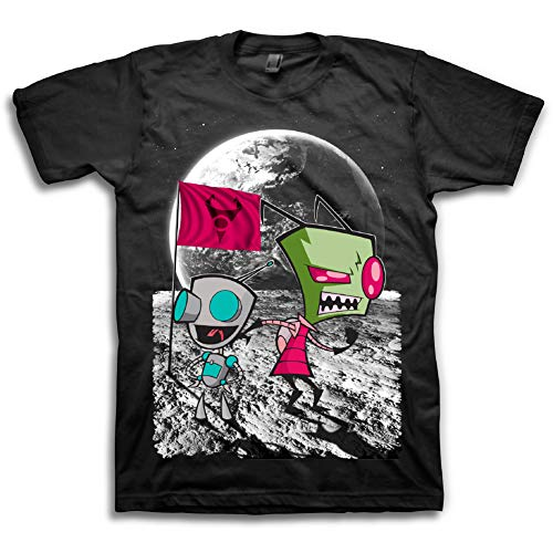 Nickelodeon Mens 90's Classic Shirt - Rugrats, Invader Zim & Hey Arnold Vintage T-Shirt (Black/Space, -