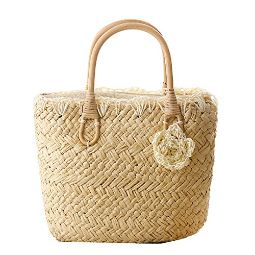 Felice Lady's BeachTote Bag Candy Color Straw Handbag Tote With Zip Top Woven Bag (Straw Zip)