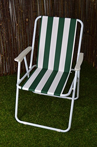 ASAB Folding Garden Patio Spring Deck Chair With Arms /& Comfortable Fabric Seat Picnic Camping Beach Fishing Outdoor Stripe