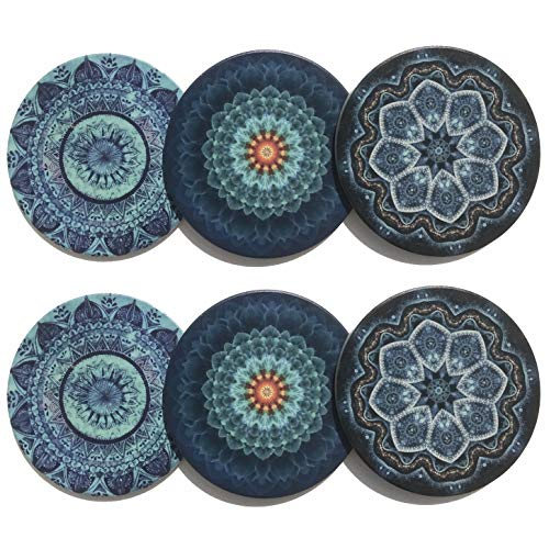 Kooalo Drink Coasters - Unique Set of 6 Absorbent Ceramic Coasters for Protecting Furniture, Table or Bar
