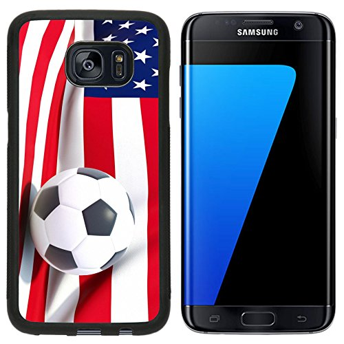 MSD Premium Samsung Galaxy S7 Edge Aluminum Backplate Bumper Snap Case Flag of united states of america with football in front of it IMAGE - Football Backplate America