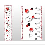 Growth Chart Red Black Ladybug Wall Decals Vinyl Sticker Kids Ladybugs Height Measurement Childrens Nursery Baby Room Decor Girl Bedroom Decorations Childs Measure Growing Babies Lady Bug Keepsake Art