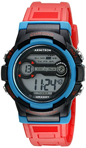 Armitron Sport Unisex 45/7064RED Blue Accented Digital Chronograph Red Resin Strap Watch by Armitron Sport
