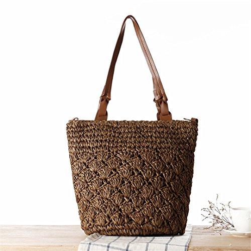 Straw Bag Beach Casual Women's Bag N Female Holiday Lady Hand Bag Big Handmade Knitted Beige Brown Crossbody Ss3173