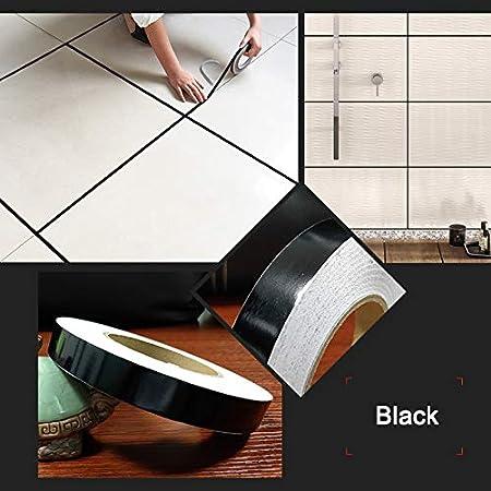 Nastro sigillante per Piastrelle Strisce argentate Dorate Small antimuffa Piastrelle in Ceramica Nastro Impermeabile Nero JklausTap Adesivi per Piastrelle da Cucina per pareti