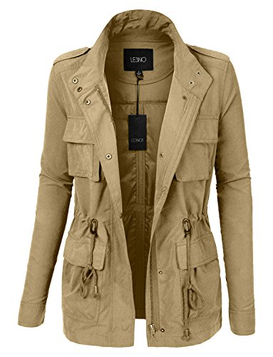 Price comparison product image LE3NO Womens Lightweight Stand Collar Utility Safari Military Jacket