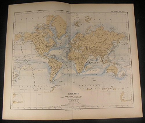 World Australia Hawaii Korea Ocean Currents 1886 antique color lithograph (1886 Colour Map)
