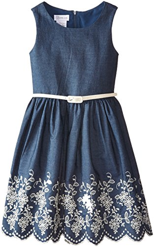 Bonnie Jean Big Girls' Chambray Dress With Embroidered Hem, Denim, 16 (Chambray Dress For Girls)