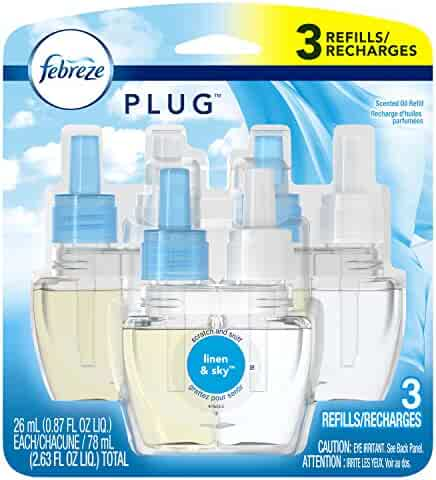 Febreze Plug in Air Freshener Scented Oil Refills, Linen & Sky, 3 Count