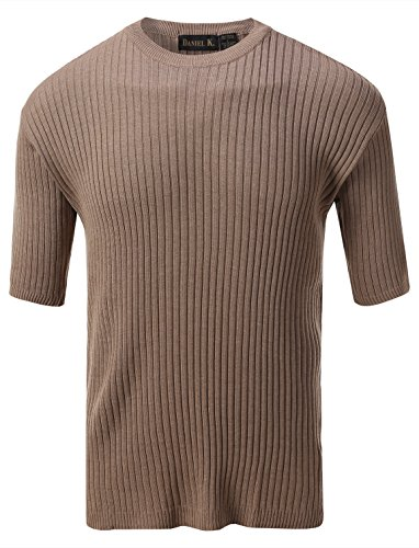 Mens Sweater Neck Large Medium (7 Encounter Men's Crewneck Short Sleeve Large Ribbed Sweater (Medium, Khaki))