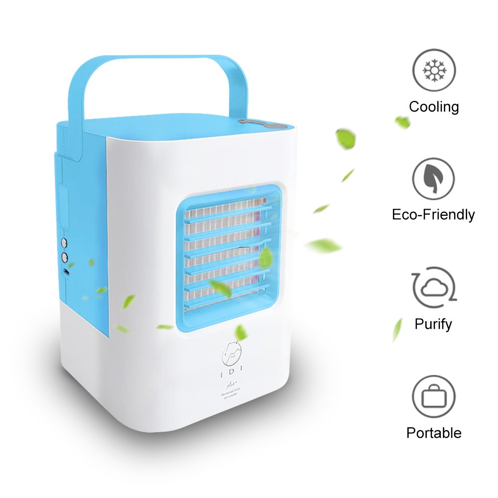 PinPle Mini Air Conditioner Fan, Upgraded Version, Small USB Quiet Personal Portable Cooling Mist Humidifier Desk Desktop Table Fan for Office/Room/Traveling/Outdoor/Household