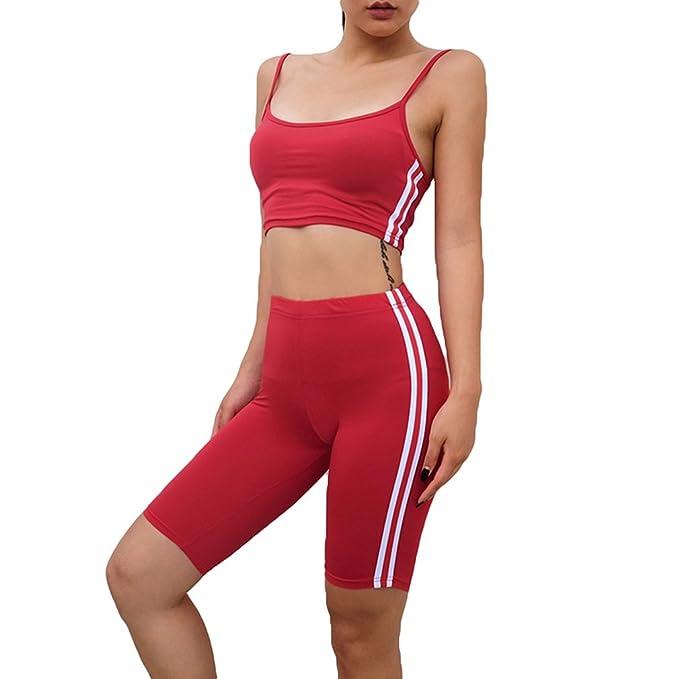 Mujer 2 Piezas Color Puro Chándal Set Conjunto Sujetador Deportivo & Alta Cintura Pantalones Cortos Running Jogging Fitness Conjuntos Ropa de Sports S M L: ...