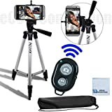 50'' Inch Tripod, Universal Tripod Smartphone Mount, Camera Shutter for Sony Xperia Z3, Z2, HTC One M9, M8, Desire 612, Desire 826, Other Phones & eCostConnection Microfiber Cleaning Cloth