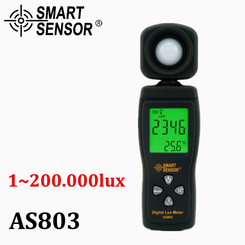 Best Quality - Temperature Instruments - Smart Sensor AS803 Digital photography Mini spectrometer actinomete Lux Meter light meter Luminance tester 1-200,000 Lux tools - by ZANAN - 1 PCs