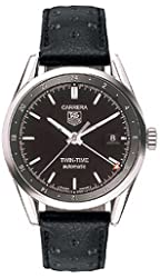 TAG Heuer Men's WV2115.FC6182 Carerra Calibre 7 Twin Time Automatic Black Dial Black Leather Watch