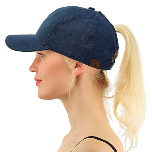 - C.C Ponytail Messy Buns Trucker Ponycaps Plain Baseball Visor Cap Dad Hat Washed Denim