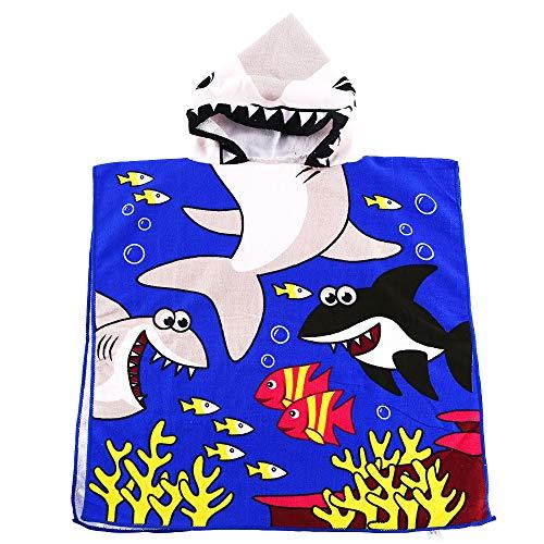 Multi Hooded Towel - CADITEX Toddler Hooded Beach Bath Towel - Kids Hooded Bath/Beach Towel Girls Boys Cute Cartoon Animal Full Vitality (Tiger Shark)