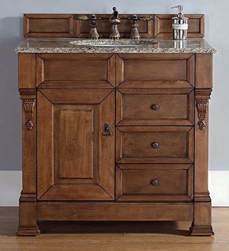 James Martin 147-114-5576-DSC Brookfield 36″ Country Oak Single Vanity w/ Drawers with Santa Cecilia Stone Top