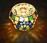 Indian Handmade Hand Painted Design Glass Candle Holder 3 Inch Multi Color