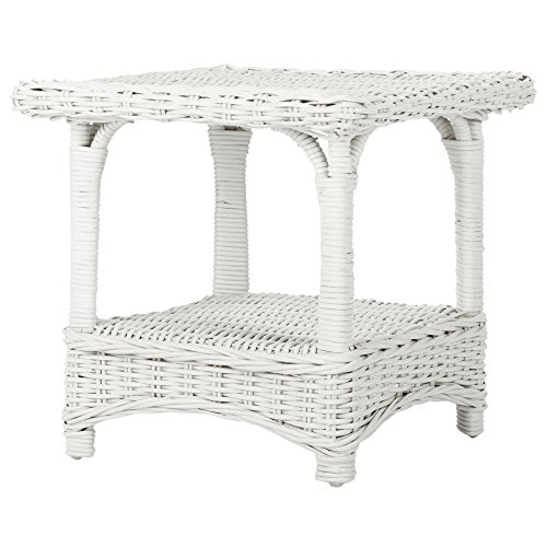 Safavieh Home Collection Bowen Wicker Side Table, (White Wicker Ottoman)